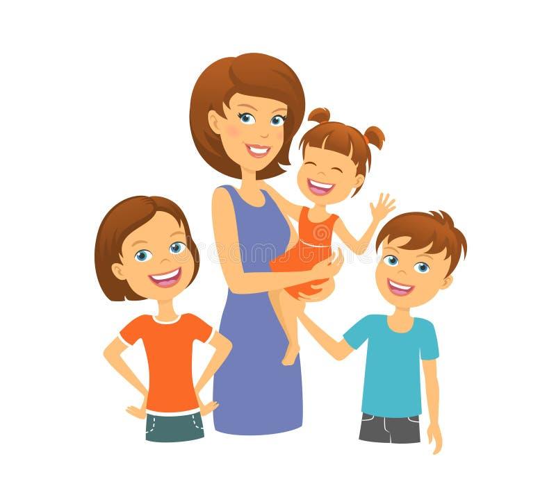 мать малышей семьи счастливая над ся белизной семья счастливая Мама с детьми Иллюстрация вектора - иллюстрации насчитывающей : 93073435