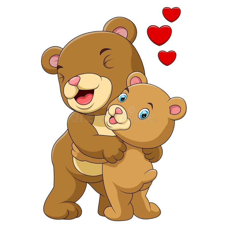 Мать мультфильма и бурый медведь младенца бесплатная иллюстрация
