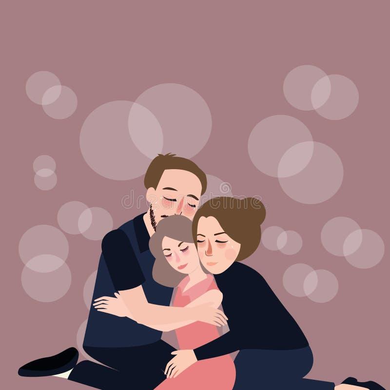 Мать отца заботы объятия семьи к их депрессии прощения дочери иллюстрация вектора
