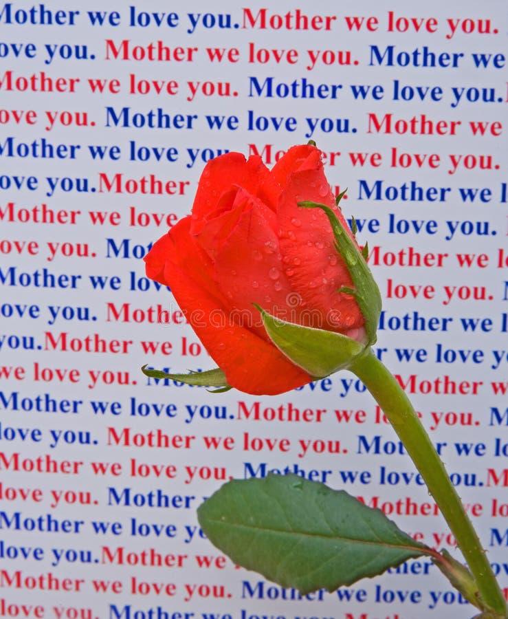 мать сообщения влюбленности подняла вы стоковая фотография rf
