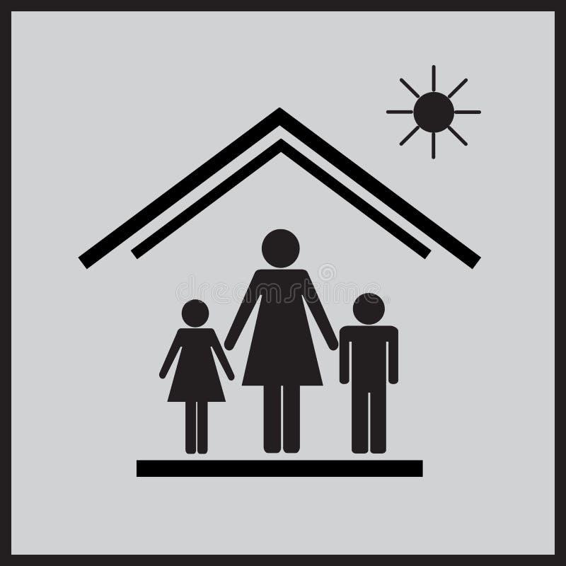 Мать с детьми в house4 стоковое фото
