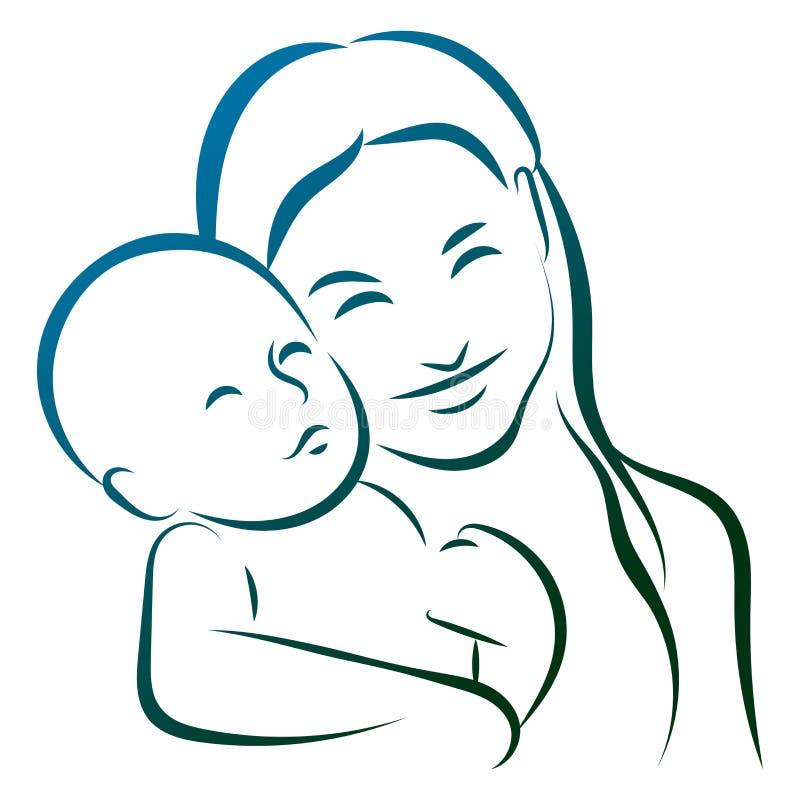Мать с линией логотипом младенца искусства иллюстрация вектора