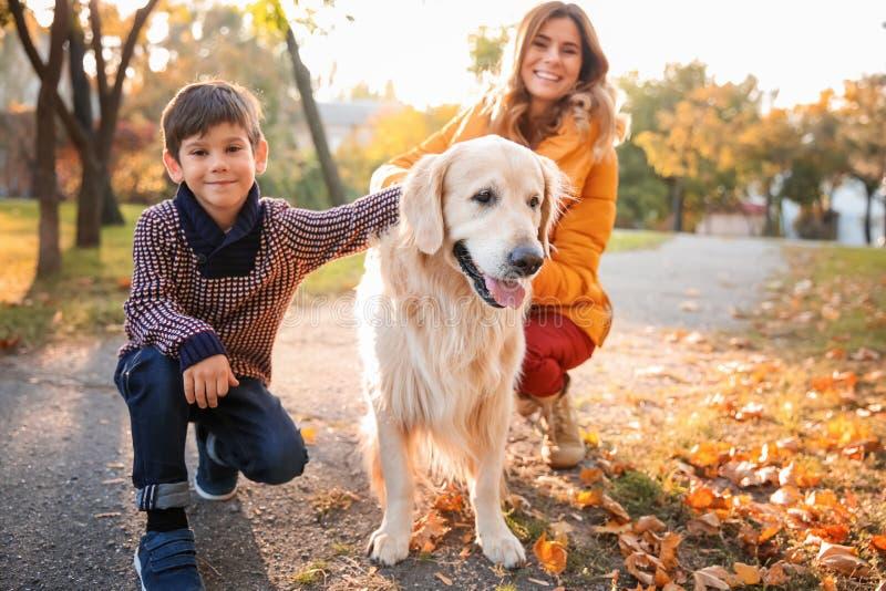 Мать с сыном и их собакой в парке осени стоковое фото