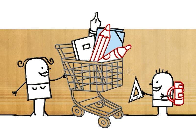 Мать шаржа с магазинной тележкаой и школьными принадлежностями иллюстрация штока