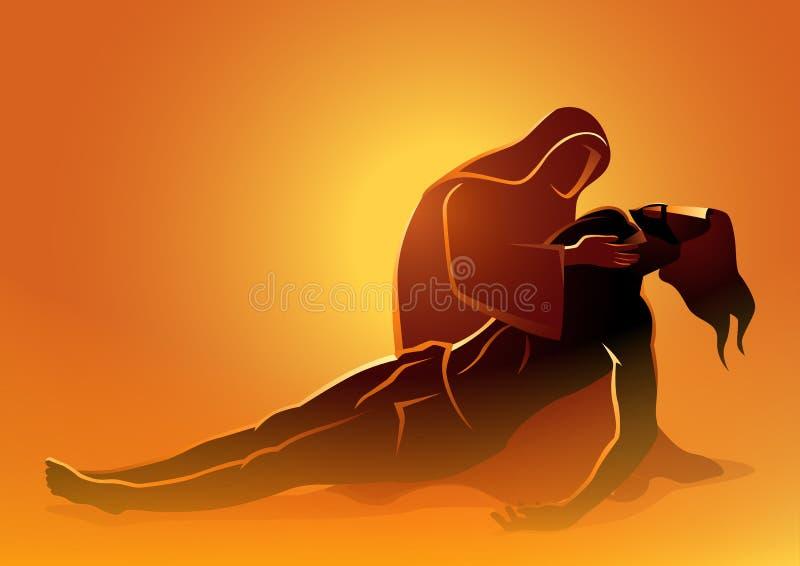 Мать Mary оплакивая смерть Иисуса иллюстрация штока