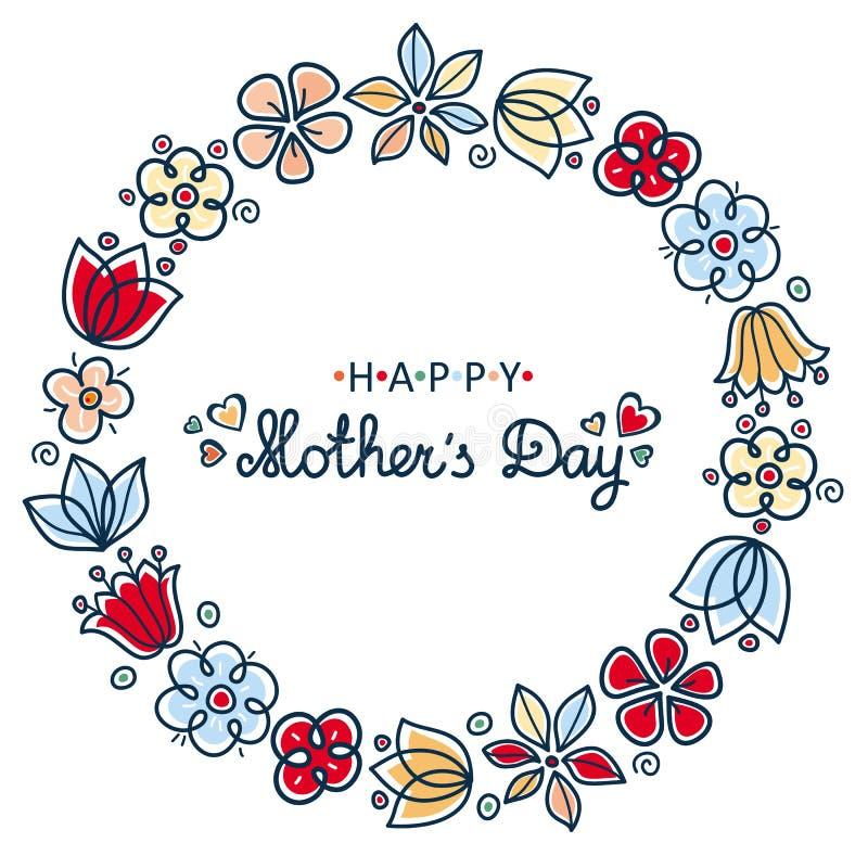 мать s дня карточки счастливая Круглый флористический венок иллюстрация штока