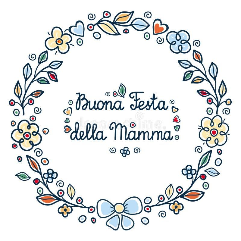мать s дня счастливая Круглая рамка цветка итальянско иллюстрация штока