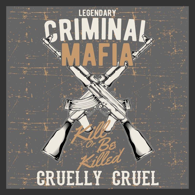 Мафия винтажного логотипа стиля Grunge уголовная с автоматическими оружиями, бесплатная иллюстрация