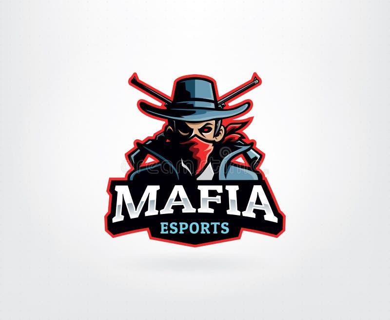 Мафия E Sport Логотип Маскот иллюстрация штока