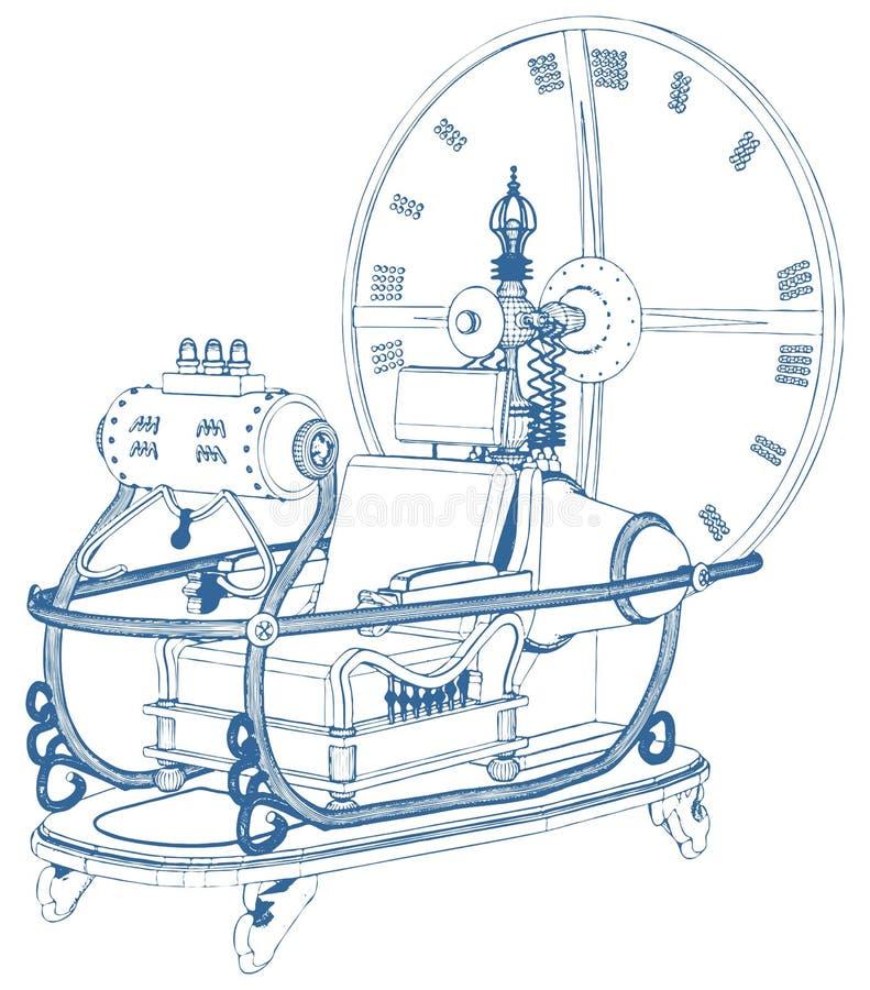 Машина времени изолированная на белом векторе предпосылки бесплатная иллюстрация