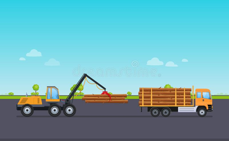 Машина груза работая с краном, разгржает деревянные журналы в склад иллюстрация вектора
