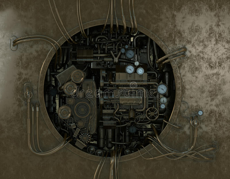 машина детальной шестерни высокая стильная иллюстрация вектора