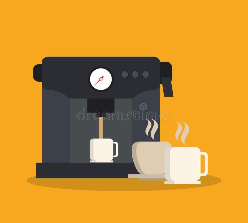 Машина и кружка дизайна кофейни иллюстрация вектора