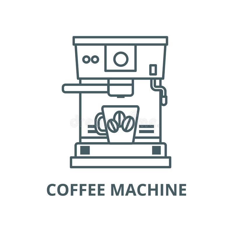 Машина кофе с линией значком чашки, вектором Машина кофе со знаком пла иллюстрация штока