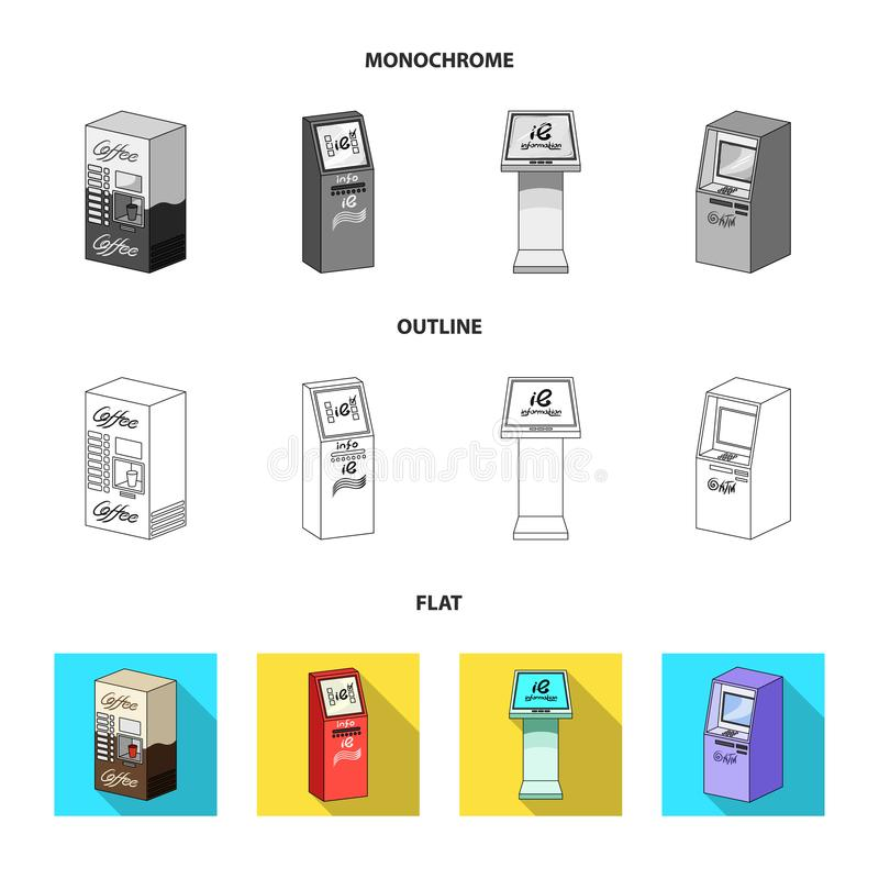 Машина кофе, ATM, стержень информации Значки собрания комплекта стержней в квартире, плане, monochrome стиле равновеликом иллюстрация вектора