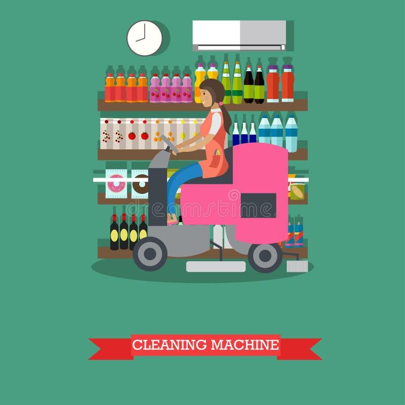Машина пользы женщины очищая для того чтобы очистить пол, гастроном иллюстрация штока