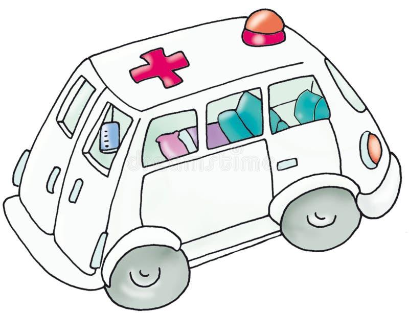 Машина скорой помощи, автомобиль больницы, дети иллюстрация штока