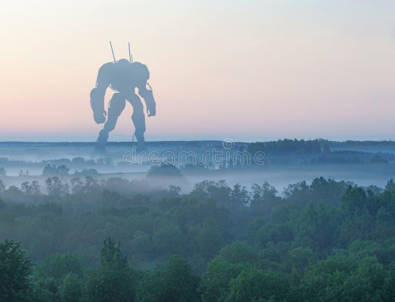 Машина сражения научной фантастики военная гигантская Робот гуманоида в сельской местности апокалипсиса Антиутопия, научная фанта стоковое фото rf
