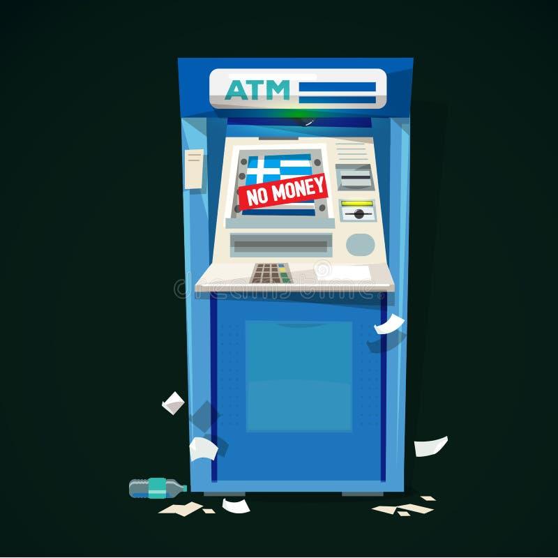Машина Atm без знака денег финансовый кризис Греции - иллюстрация штока