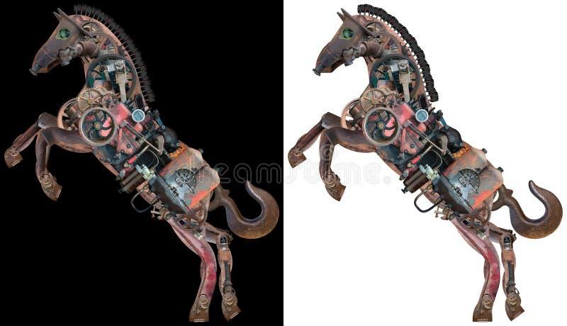 Машина Steampunk, механически изолированная лошадь иллюстрация вектора