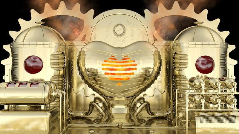 Машина Steampunk стилизованная: кровь входит в танки резервуара и после этого горит в печи влюбленности в форме сердц иллюстрация штока