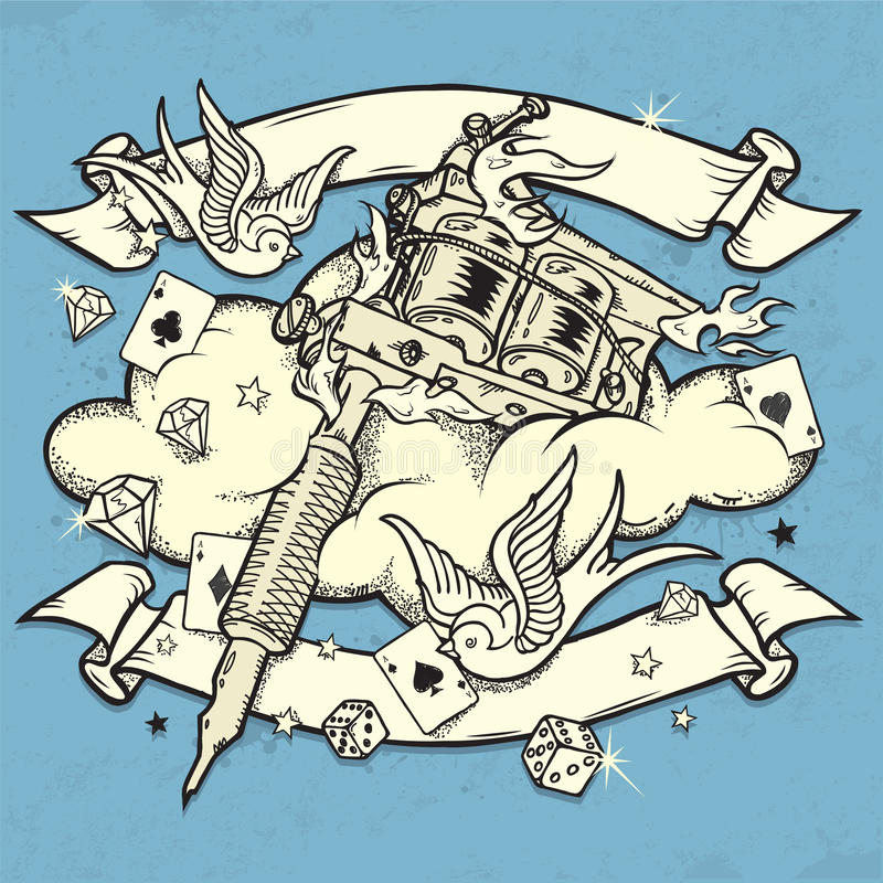 Машина Tattoo Grunge бесплатная иллюстрация
