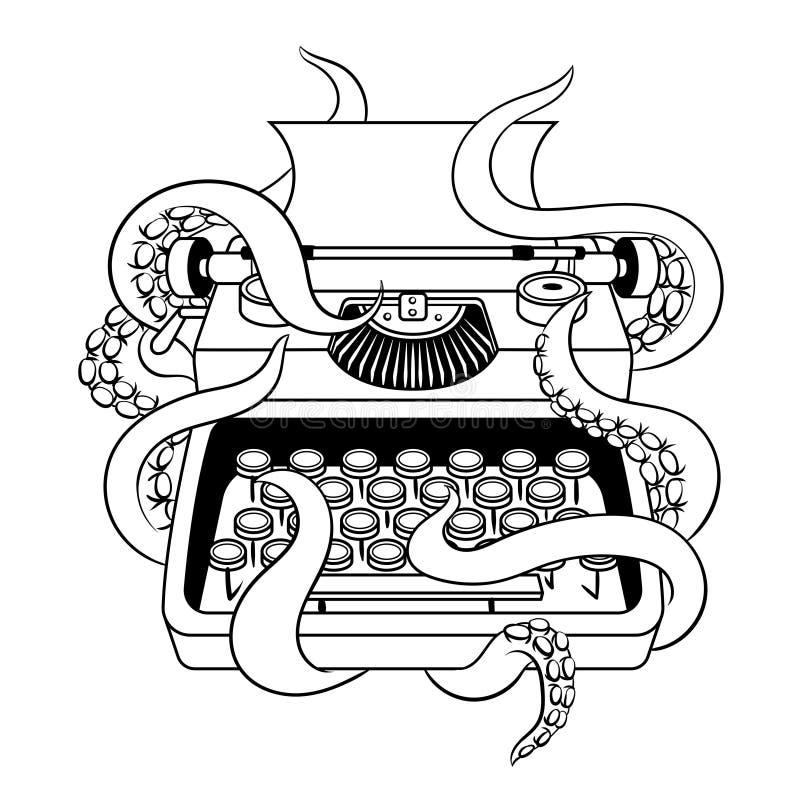 Машинка с вектором книжка-раскраски осьминога иллюстрация штока