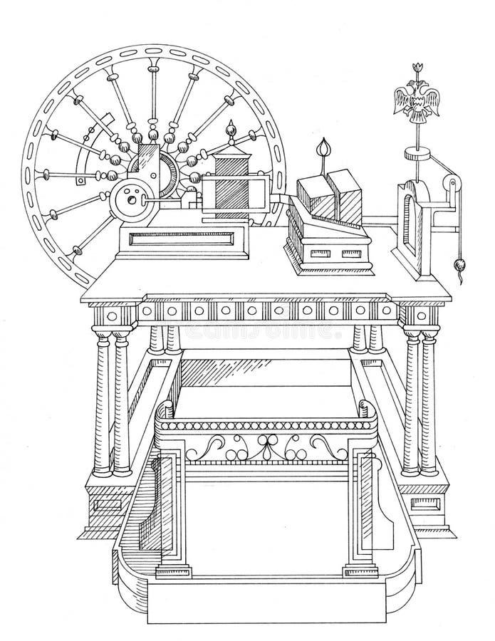 Машинное оборудование года сбора винограда чертежа бесплатная иллюстрация