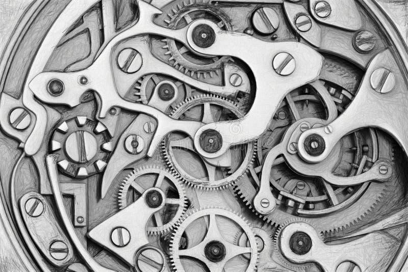 Машинное оборудование перевода Clockwork 3D с scetch серой шкалы шестерней бесплатная иллюстрация