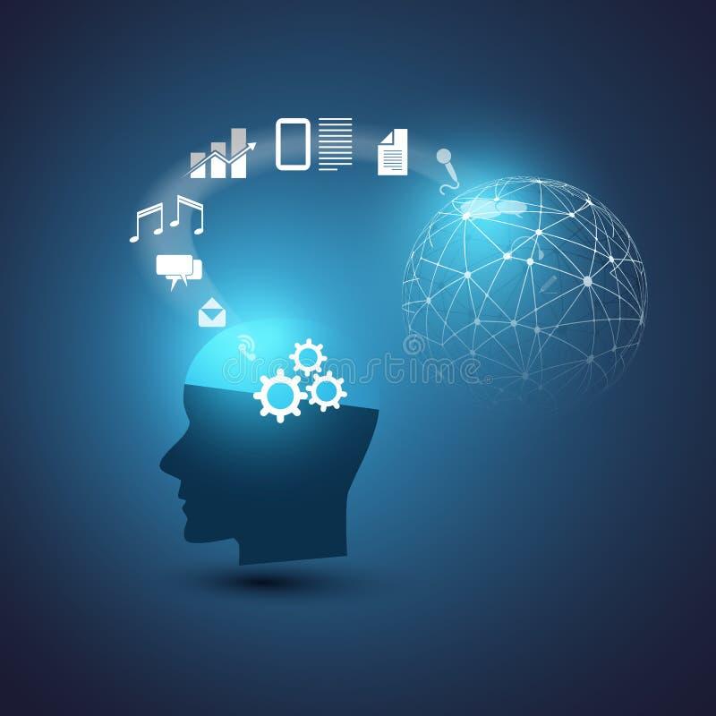 Машинное обучение, искусственный интеллект, вычислять облака и идея проекта цифровых сетей с значками и человеческой головой иллюстрация штока