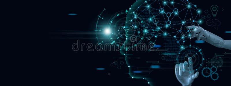 Машинное обучение Рука робота касаясь на двоичных данных Футуристический искусственный интеллект AI стоковое изображение rf