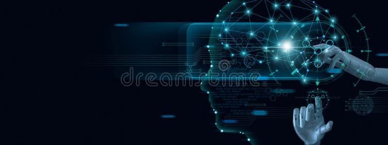 Машинное обучение Рука робота касаясь на двоичных данных Футуристический искусственный интеллект a стоковое фото