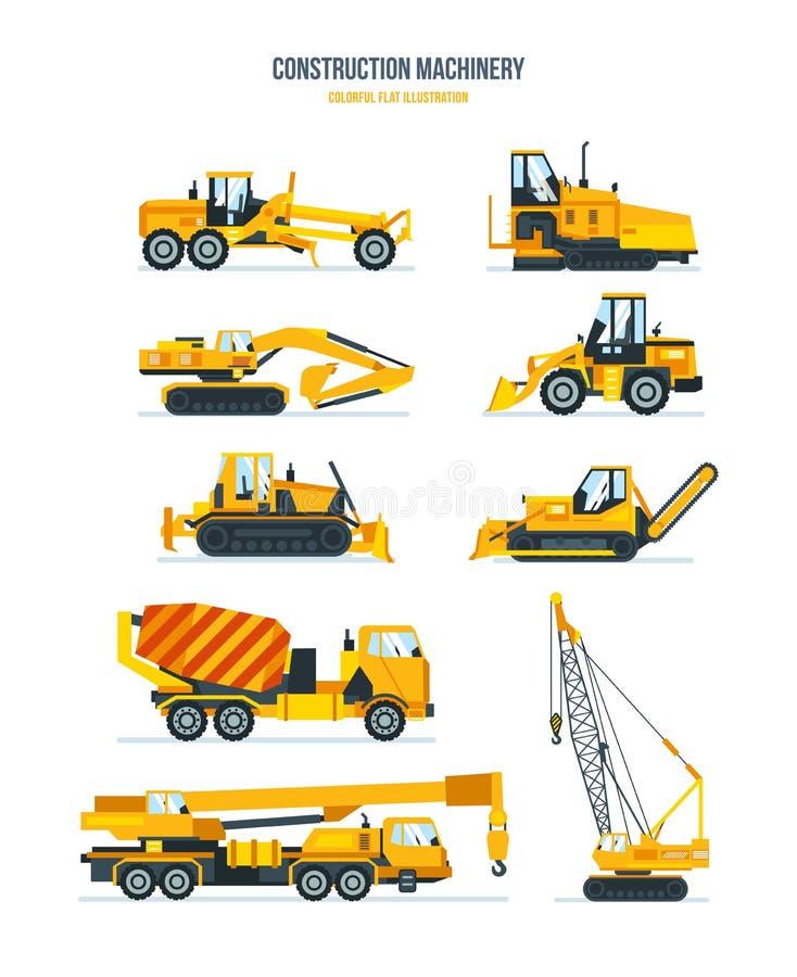 Машины конструкции, тележки, корабли для транспорта, асфальта, конкретный смешивать, кран иллюстрация вектора