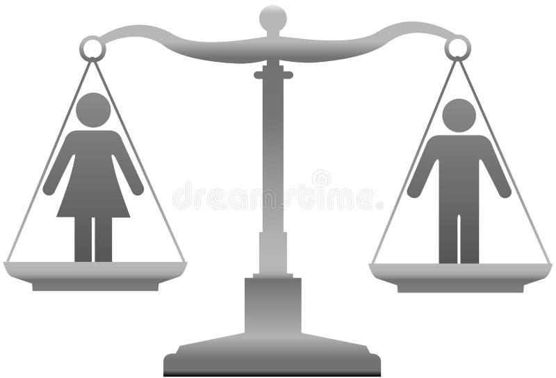 Маштабы правосудия секса равенства полов иллюстрация штока
