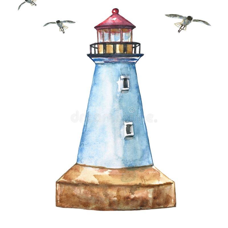 Маяк акварели Рука покрасила голубой маяк, изолированный на белых backgrouns Иллюстрация летних каникулов иллюстрация штока
