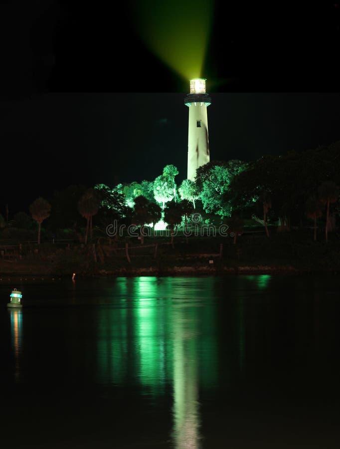 Маяк входа Юпитера со светом маяка дальше стоковые изображения rf