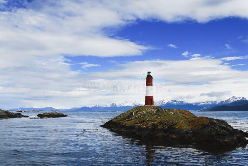 Маяк в море, Патагония стоковое фото