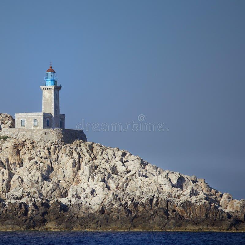 Маяк в Эгейском море стоковые фотографии rf