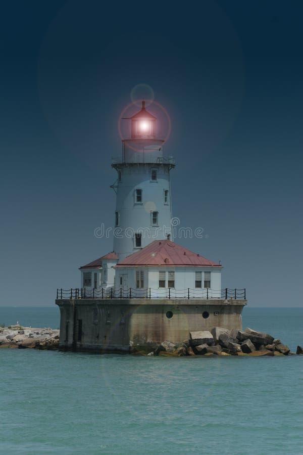 маяк гавани Chicago Стоковое Изображение