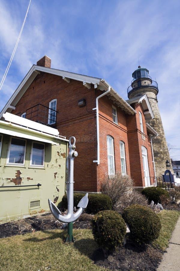 маяк гавани fairport старый стоковое фото