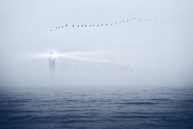 Маяк и птицы в небе стоковая фотография rf
