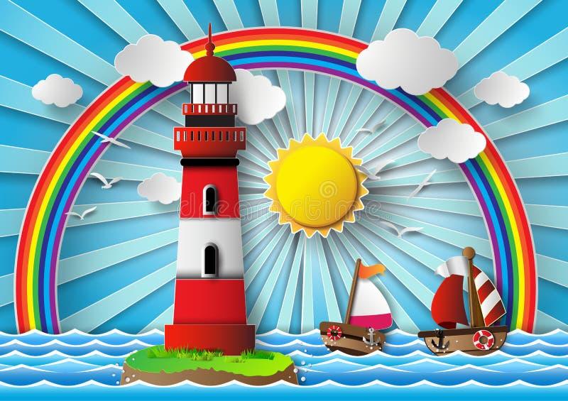 Маяк и seascape иллюстрация вектора