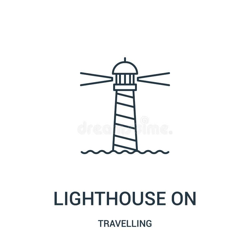 маяк на векторе значка от путешествовать собрание Тонкая линия маяк на иллюстрации вектора значка плана r бесплатная иллюстрация