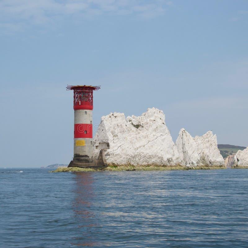 Маяк на иглах, острове Уайт, Англии стоковые изображения