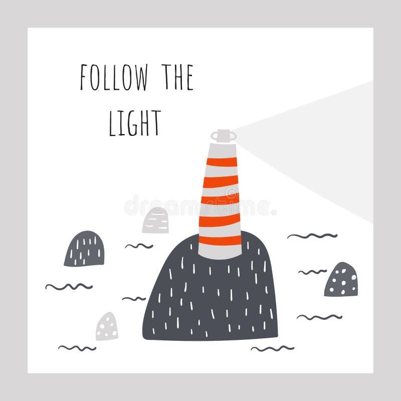 Маяк на утесе в море Следовать светлым позитвом, мотивационной иллюстрацией в плоском стиле doodle иллюстрация штока