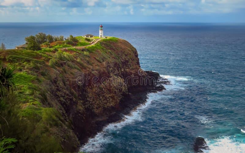 Маяк на этап Kilauea, Кауаи, Гаваи стоковая фотография rf