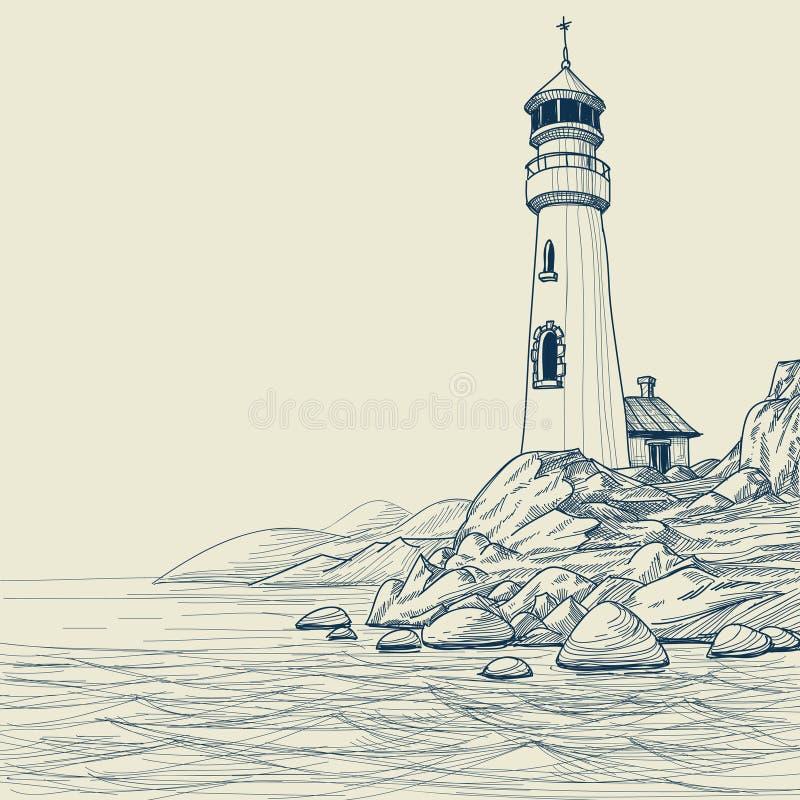 маяк чертежа иллюстрация вектора