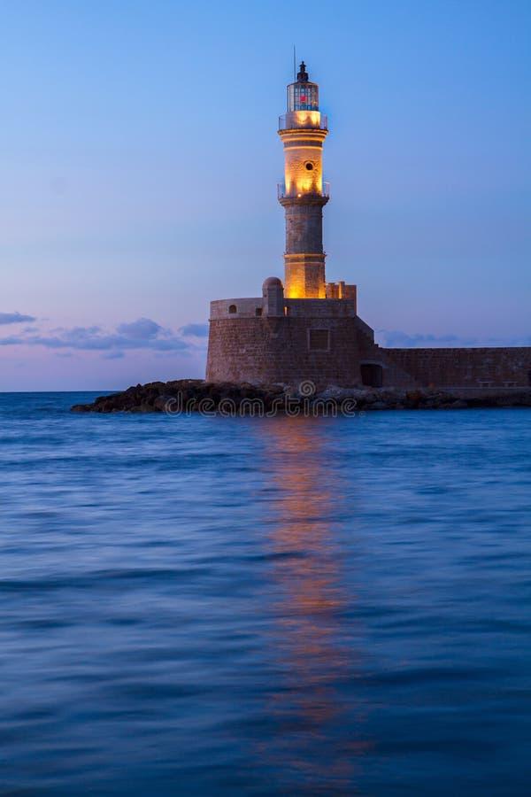 Маяк Chania, Крита, Греции стоковые фото