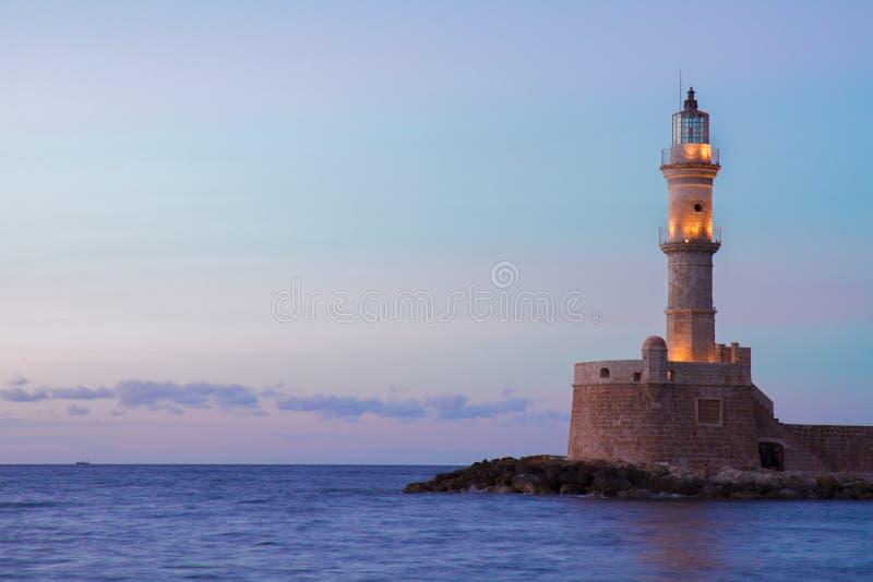 Маяк Chania, Крита, Греции стоковое изображение rf