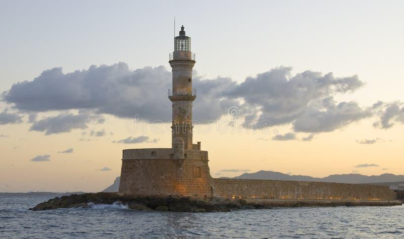 маяк chania стоковая фотография rf
